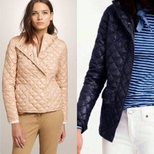 J Crew Navy Blue Puff Quilt Double Breast Jacket M